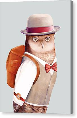 Travelling Owl Canvas Print by Animal Crew