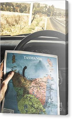 Guides Canvas Print - Travelling Tourist With Map Of Tasmania by Jorgo Photography - Wall Art Gallery