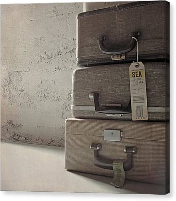 Canvas Print featuring the photograph Travels With A Typewriter by Sally Banfill
