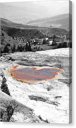 Travertine Terrace View Of Mammoth Hot Springs Village In Yellowstone National Park Color Splash Canvas Print