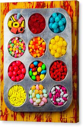 Tray Full Of Candy Canvas Print by Garry Gay