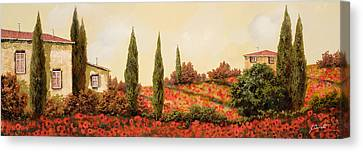 Landscape Canvas Print - Tre Case Tra I Papaveri by Guido Borelli
