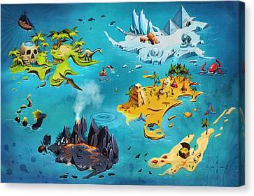 Treasure Map Canvas Print by Anastasiia