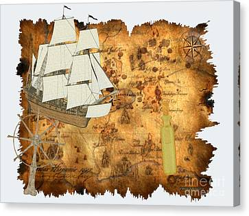 Treasure Map Canvas Print by Corey Ford