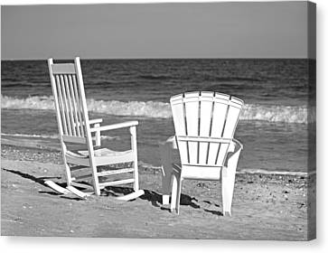 Adirondack Chairs On The Beach Canvas Print - Treasure Of Time by Betsy Knapp