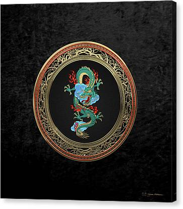 Treasure Trove - Turquoise Dragon Over Black Velvet Canvas Print by Serge Averbukh