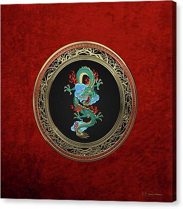 Treasure Trove - Turquoise Dragon Over Red Velvet Canvas Print by Serge Averbukh