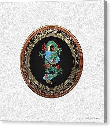 Treasure Trove - Turquoise Dragon Over White Leather Canvas Print by Serge Averbukh