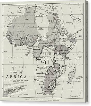 Treaty Map Of Africa Canvas Print by English School