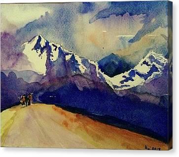Trecking Canvas Print by Annie Poitras