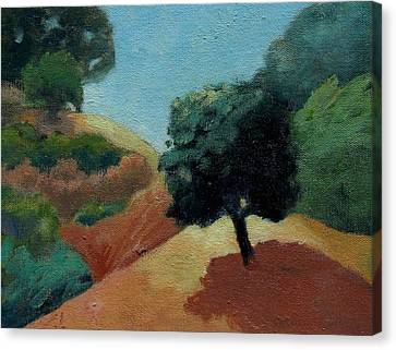 Canvas Print featuring the painting Tree Alone by Gary Coleman