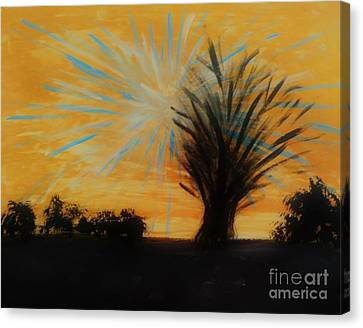 Tree And Lightning Canvas Print by Marie Bulger