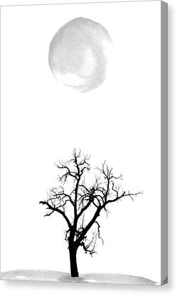 Tree And Moon Canvas Print by Nordic Print Studio