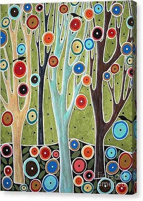 Tree Blooms And Birds Canvas Print by Karla Gerard