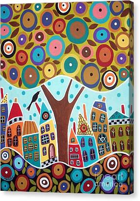Tree Eight Houses And A Bird Canvas Print by Karla Gerard