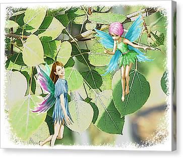 Tree Fairies Among The Quaking Aspen Leaves Canvas Print