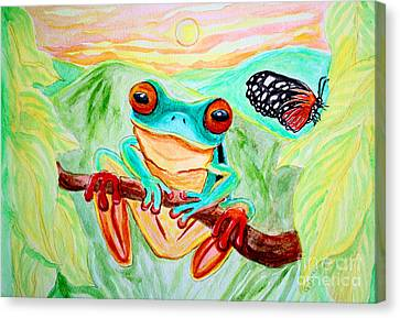 Tree Frog And Butterfly Canvas Print by Nick Gustafson