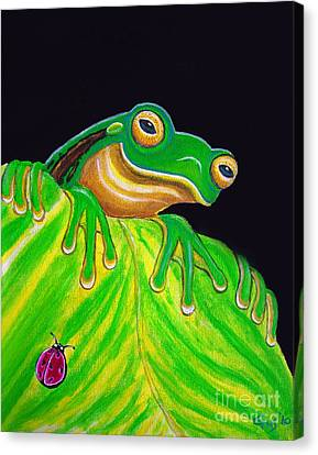 Tree Frog On A Leaf With Lady Bug Canvas Print