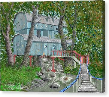Tree House Digital Version Canvas Print by Jim Hubbard