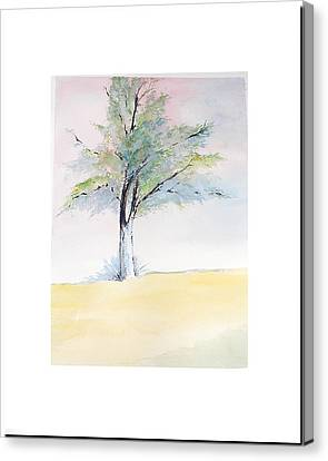 Canvas Print featuring the painting Tree In Pastel Colors by Sibby S