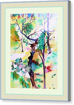 Canvas Print featuring the painting Tree Lovers by Mindy Newman