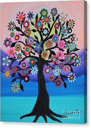 Canvas Print featuring the painting Blooming Tree Of Life by Pristine Cartera Turkus