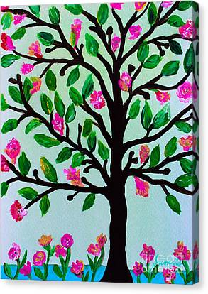 Canvas Print featuring the painting Tree Of Essence by Pristine Cartera Turkus