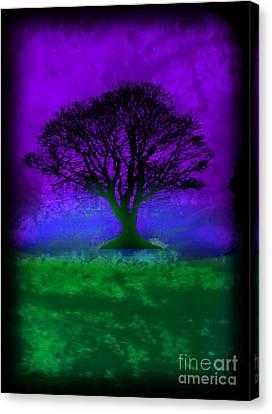 Tree Of Life - Purple Sky Canvas Print by Robert R Splashy Art