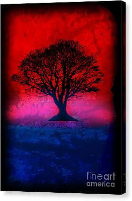 Tree Of Life - Red Sky Canvas Print by Robert R Splashy Art