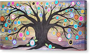 Tree Of Life And Bird Canvas Print by Karla Gerard