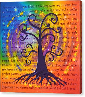 Tree Of Life And Positive Affirmations Canvas Print