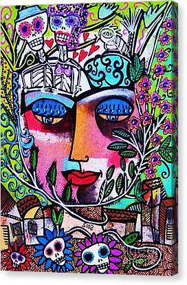 Tree Of Life Face Canvas Print by Sandra Silberzweig
