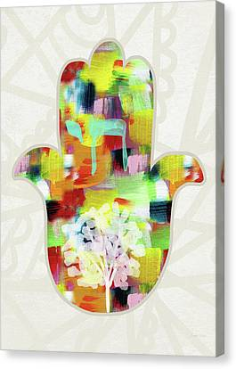 Tree Of Life Hamsa- Art By Linda Woods Canvas Print by Linda Woods