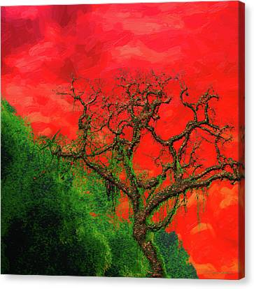 Tree Of Life - Red Dawn Canvas Print by Serge Averbukh