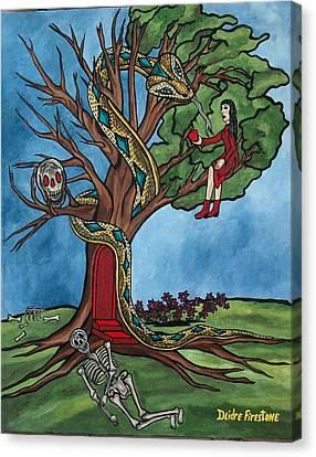 Tree Of Life Temptation And Death Canvas Print by Deidre Firestone