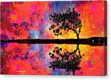 Tree Reflection - Da Canvas Print by Leonardo Digenio