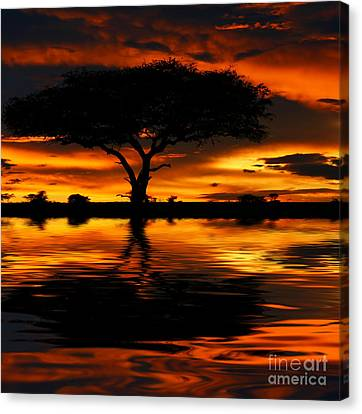 Tree Silhouette And Dramatic Sunset Canvas Print by Anna Om