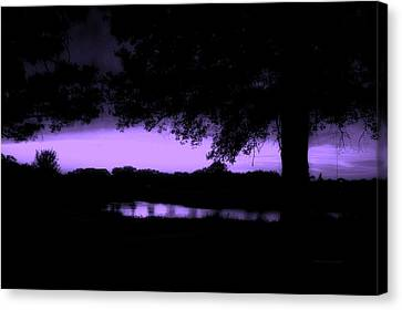 Tree Silhouette By The Pond Purple Canvas Print