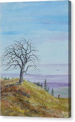 Tree Study With Red Shirt Canvas Print by Steve Mountz