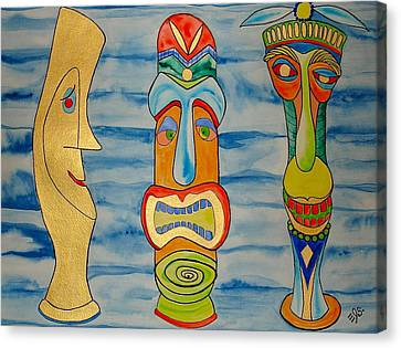 Canvas Print featuring the painting Tree Tikis Cuz by Erika Swartzkopf