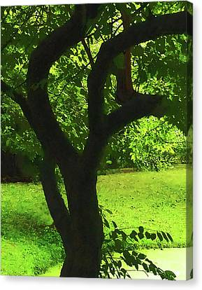 Tree Trunk Green Canvas Print