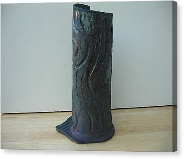 Tree Trunk Vase Canvas Print by Julia Van Dine