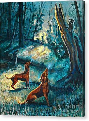 Canvas Print featuring the painting Treed At Dawn by Suzanne McKee