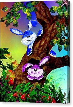 Treehouse Bunnies Canvas Print
