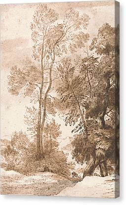 Trees And Deer Canvas Print