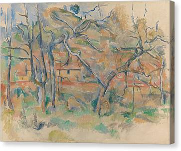 Trees And Houses Canvas Print by Paul Cezanne