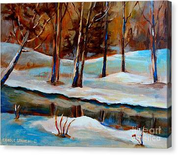 Trees At The Rivers Edge Canvas Print by Carole Spandau