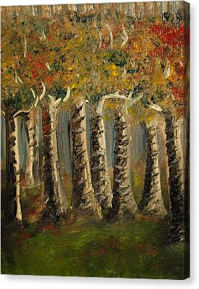 Canvas Print featuring the painting Trees by Evelina Popilian