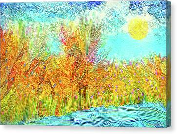 Canvas Print featuring the digital art Trees Flow With Sky - Boulder County Colorado by Joel Bruce Wallach