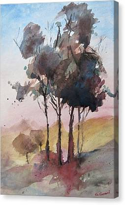 Canvas Print featuring the painting Trees by Geni Gorani